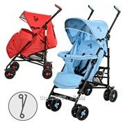 Коляска детская 1109-3-4 прогулочная крас/голуб 108-88-49см фото