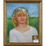 Женский портрет маслом с полевым венком фото