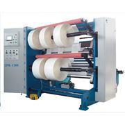 Бобинорезальная машина 2ПР-1300 для продольной резки рулонов полимерной пленки бумаги ламинированных изделий алюминиевой фольги с последующей намоткой в рулоны (бобины). Макс. ширина рулона – 1300 мм. фото