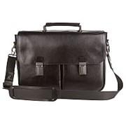 Черный кожаный мужской портфель из натуральной кожи фото