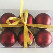 """Набор елочных шаров """"Бордовый бархат"""", 6 шт, 6 см, бордовые матов., (MILAND) фото"""