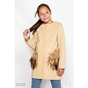 Пальто для девочек из кашемира с меховыми карманами (4 цвета) -бежевый KL/-3903 фото