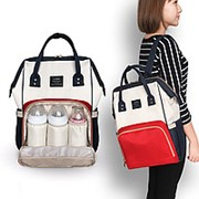 Сумка-рюкзак для мамы (Mummy Bag)/ Красный с белым фото