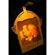 Сувенир голографический с подсветкой настольный Огненный петух фото