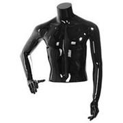 Торс мужской с руками, скульптурный, укороченный, цвет черный глянец, правая рука согнута в локте. MD-C-13-02G фото