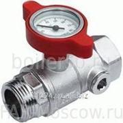 "Шаровый кран с термометром, 1"" НР-ВР, хромированный, красная ручка, артикул FS 3049 1R фото"