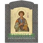 Мастерская церковной шелкографии Пантелеимон, святой великомученик и целитель, икона под серебро Высота иконы 23 см фото