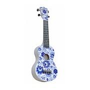 "WIKI UK/RUS/GZHEL- гитара укулеле, сопрано, липа, рисунок ""ГЖЕЛЬ"", чехол в комплекте. фото"