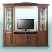 Витрина ТВ с 2 башнями коричневая фото