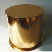 Коробка для торта круглая серии Голд (400*280) золото фото