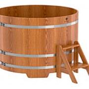 Деревянная круглая купель (1,5х1,0м, 1380л) из дуба фото