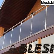 Перила из нержавеющей стали со стеклом (триплекс, каленое, разных цветовых оттенков) - торговой марки BLESK ТМ . Монтаж перил по всей Украине от 1 м.п. Договор. Гарантия фото