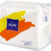 Салфетки бумажные Sipto белые, 100 листов фото