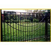 Забор металлический, высокий фото