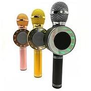 Беспроводной микрофон караоке WS-668 (USB, microSD, AUX, Bluetooth) (золото) фото