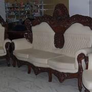 Эксклюзивный комплект кожаный барокко Бельгия 3+1+1 фото