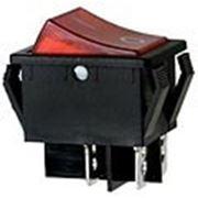 R595BRBT2 выключатель 2хON-OFF 250В 16A с красн. подсв. (B127A,SWR73). фото