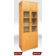 Книжный шкаф купить, Шкаф книжный со стеклянными дверками в рамочном фасаде 802*403*2186 мм с антресолью, Код: 0677Р фото