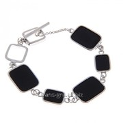 Браслет Графичные островки , цвет чёрный в серебре фото