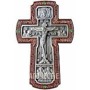 Курская церковная мастерская Крест серебряный (Распятие с предстоящими и Архангелами), настенный, камни, ясень фото
