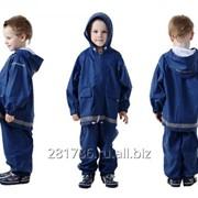 Непромокаемый детский костюм - дождевик без подкладки Цвет синий фото