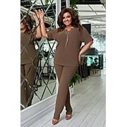 Легкий однотонный брючный костюм женский с короткими рукавами (4 цвета) ЛД/-6355 - Мокко фото