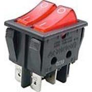 RS-628FLLBRBT2 выключатель 2xON-ON 250В 8А 2х кн. с кр. подсв. (B128B). фото