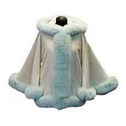 Кашемировое пальто с мехом песца мятного цвета фото