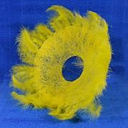 Каркас для букета 35см сизаль гл с перьями желтый фото