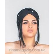 Чалма , тюрбан (черный в бусинках) фото