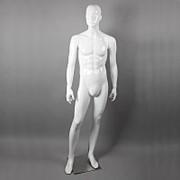 Манекен для одежды мужской ростовой глянцевый натуралистический стоячий, белый. B105SB(бел) фото