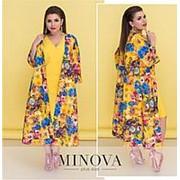 Платье женское с накидкой в цветочный узор (5 цветов) - жёлтый ОМ/-5262 фото