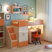 Детская комната Легенда 9 с полками венге светлый/оранж фото