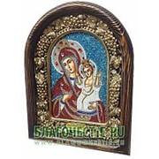 Золотошвейные мастерские, Дивеево Нечаянная Радость Богородица, дивеевская икона ручной работы из бисера Высота иконы 17 см фото