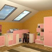Детская комната Астра мини дуб молочный/розовый фото