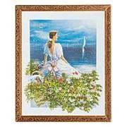 """Картина """"Девушка у моря"""" багет 46х56 см 5581 фото"""