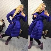 Женская стеганная куртка-пальто свободного кроя, в расцветках фото