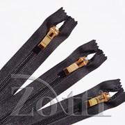 Молния пластиковая, черная, бегунок №72 - 25 см фото