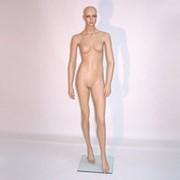 Манекен для одежды женский ростовой телесный пластиковый, стоячий, с макияжем. A-11 фото