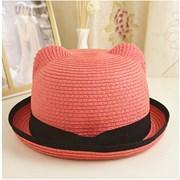 Летняя шляпка с ушками и лентой фото