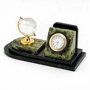 """Настольный мини-набор из камня письменный из змеевика """"Глобус"""" фото"""