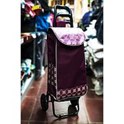 Универсальная сумка-тележка на двух колесах 32х30х100см сиреневая фото