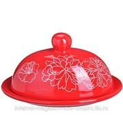 Маслёнка с крышкой 2 пр Красный Узор Loraine 25830 фото