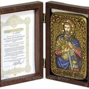 Настольная икона Святой мученик Анатолий Никомидийский на мореном дубе фото