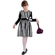 Элегантное платье детское в черно-белую полоску 122 фото