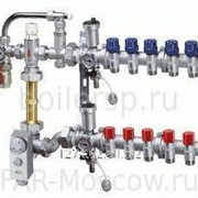 Сборный регулирующий узел для напольного отопления, с терморегулирующими и запорными вентилями, 4 отвода, в коллекторном шкафу, отводы Евроконус, артикул FK 3485 13404 фото