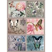 Карта рисовая Цветы и бабочки фото