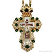 Крест из ювелирного сплава в позолоте с принтом и с цепью 2.10.0326лп-2-1лп фото