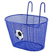 Корзина детская 25х15х14,5см сталь универсальное крепление на руль или багажник синяя с лого футбольного мяча фото