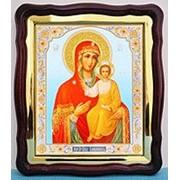 Икона Смоленская Божья матерь, в фигурном киоте, с багетом большая аналойная, 28х32 фото